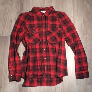 Red and black flannel shirt with golden snaps- L